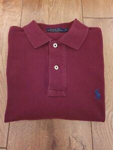 Men's Ralph Lauren Short Sleeve Polo Shirt Dark Red Size - XS