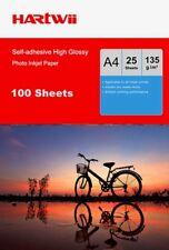 Hartwii 100 Sheet A4 135Gsm Self-adhesive Stick High Glossy Photo Paper Inkjet