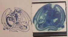 Princess and Dragon rubber stamp by Amazing Arts