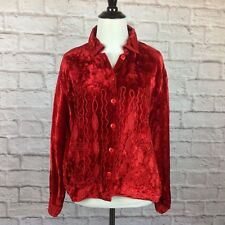 Anu Natural Jacket Women Small Crushed Red Velvet Button Bohemian Applique Rayon