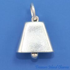Movable Cowbell 3D .925 Solid Sterling Silver Charm Cowboy Cow Bell MADE IN USA