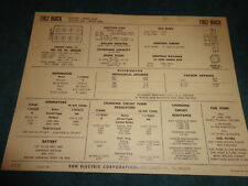 1962 BUICK INVICTA / ELECTRA 225 401 V-8 ENGINE SUN TUNE-UP CHART / USEFUL ITEM!