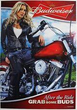 BUDWEISER MOTORCYCLE POSTER (2011) - BLONDIE BIKER BABE - SEXY GIRL DORM POSTER