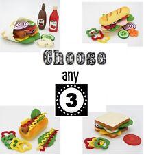 CHOOSE 3: Make Create Hamburger Sandwich Wood Felt Pretend Play Kitchen Food