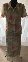 K & COMPANY Ensemble Kleid & Bluse hellgrün mit rosé FLOWER Gr 40 sehr leicht