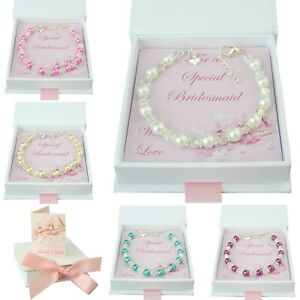 Thank you gifts for Bridesmaid, Flower Girl, Maid of Honour, Pearl Bracelets