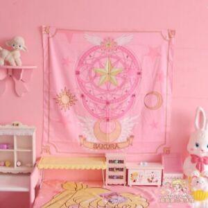 Sailor Moon Pink Card Captor Sakura Wall Bedroom Girls Decor Tapestry Tablecloth