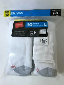 Hanes Value 10 Pack, Men's Mid-Crew Socks, White w/Gray Heel & Toe, Size 6-12