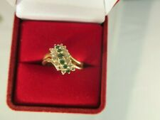 14K Yellow Gold Emerald and  Diamond Ring Size 6.25 (#633)