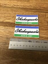 """(2) Shakespeare  SINCE 1897-DECALS - STICKERS-3 1/2"""" X 1 3/4"""" -  NEW"""