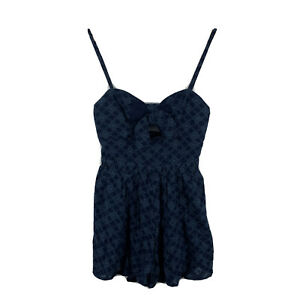 Bec and Bridge Womens Playsuit Romper Size 8 Blue Detailed Sleeveless Zip 87.11