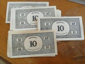 MONOPOLY PAPER MONEY: 35 x £10 BANK NOTES - SPARES / REPLACEMENTS. Vintage VGC.