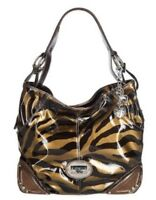 NWT Kathy Van Zeeland Patent Triple Compartment Hobo Bag - TIGER