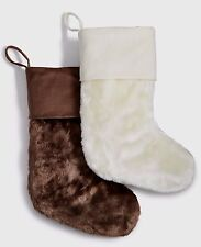 $50 INC International Concepts Faux-Fur Ivory Or Brown Chirstmas Stocking