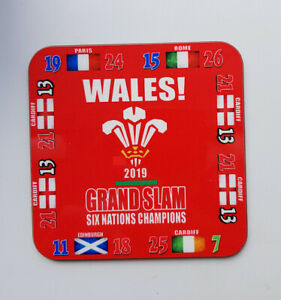 Wales 2019 Grand Slam (with scores) coaster