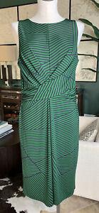 Ann Taylor women 10 green striped twist front Sleeveless Stretch sheath dress J1