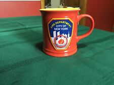 FDNY Ceramic Embossed Coffee Mug, Fire Department New York City, Red Yellow