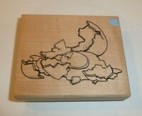 Broken Egg Wooden Rubber Stamp NUMBERED 11/99 CAT VIP 1999 Egg Shells Breakfast