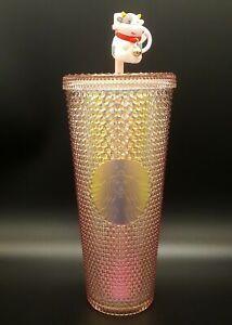 New 2021 Starbucks China Year of the Ox Iridescent Pink Diamond Studded Tumbler