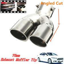 "76mm 3"" Universal Car Stainless Twin Double Chrome Exhaust Pipe Muffler Tail Tip"
