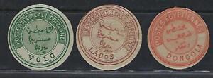 EGYPT 1865 THREE SCARCE INTERPOSTAL OFFICIAL VOLO GREECE LAGOS NIGERIA & DONGOLA