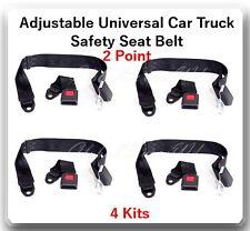 (4 Kits ) Adjustable Universal Car Truck 2 Point Seat Belt Lap Safety Belt