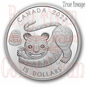 2022 - Lunar Year of the Tiger - $15 Pure Silver Proof Coin - Canada