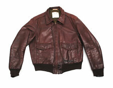 Georgetown A-2 Leather Flight Jacket 44 Large Bomber Talon Top Gun 70's 60's vtg