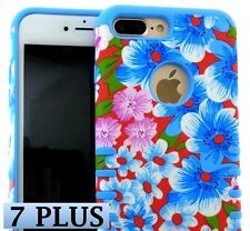iPhone 7+ / 8+ Plus - HYBRID HARD & SOFT RUBBER CASE COVER BLUE RED PINK FLOWERS