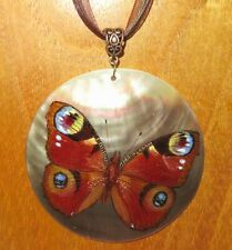 European Peacock Butterfly SHELL Pendant Genuine Russian hand painted signed ART