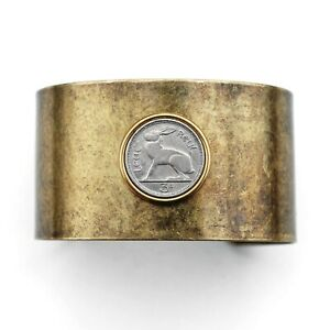 1928~1968 Ireland 3 Pence Coin Solid Brass Antique Finish Cuff Bracelet - Hare