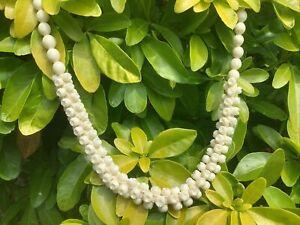 carved bovine bone Cream flower Carved Bead necklace