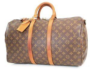 Authentic LOUIS VUITTON Keepall Bandouliere 45 Monogram Canvas Duffel Bag #37875