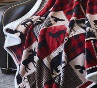 LODGE LIFE DEER BEAR FLANNEL SHERPA 50x60 THROW : MOOSE RED BUFFALO BLANKET