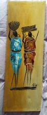 African Ladies carrying food & wood - painted on canvas - signed by Artist Titus