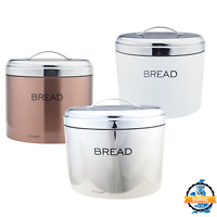 Colored Stainless Steel Bread Bin Food Loaf Kitchen Storage Box Mirrored Lid