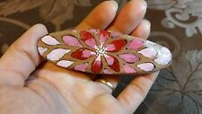 Hand Painted Barrette Wooden Hair Accessory Floral metal clip Handmade Pink Red