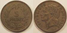 5 Francs Lavrillier en cupro-alu, 1945 C Castelsarrasin, TTB !!