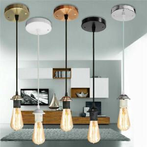 E27 Ceiling Rose Light Fitting Vintage Industrial Pendant Lamp Bulb Holder UK
