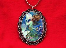 MERMAID PEARL SEA VINTAGE ILLUSTRATION ART NOUVEAU PENDANT NECKLACE
