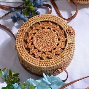 WOMEN Straw Bag Hand Beach Rattan Shoulder Charcoal Bamboo Bag Handbag CROSSBODY