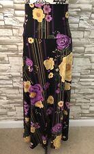 Lularoe Maxi Skirt Medium M NWT Beautiful Purple Flower Stripe Print New 2019