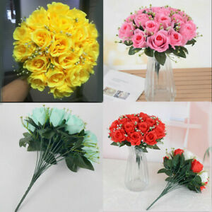 18 Heads Silk Rose Artificial Flowers Fake Bouquet Wedding Party Home Decor