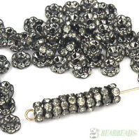 100Pcs Czech Crystal Rhinestone Gunmetal Wavy Rondelle Spacer Beads 4mm 8mm 10mm