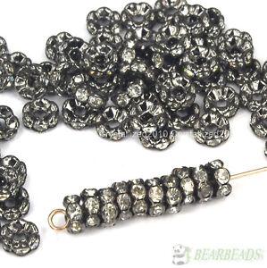 100Pcs Czech Crystal Rhinestone Gunmetal Wavy Rondelle Spacer Beads 4mm 8mm 10mm