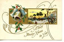 Windmill-Winter Scene-Bells-Merry Christmas Greeting Holiday Vintage Postcard