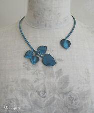 PILGRIM Wrap Collar Necklace Vintage PATINA Heart Leaf Fired Blue Enamel BNWT