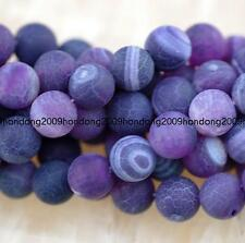 10mm Purple Frost Agate Onyx Round Gemstone Loose Beads 15''
