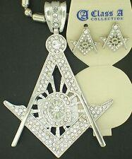 Cz Charm Sausage Chain Silver Earrings Masonic Mason G Silver Big Sparklng