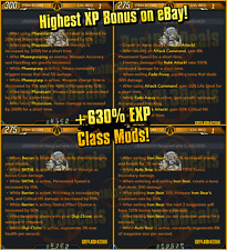 Borderlands 3 XP +630% Class Mods LEVEL 1 Zane Moze Amara Fl4k PC PS4 XBOX BL3!